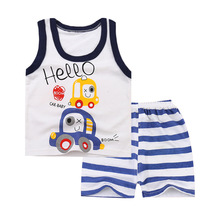 2019 summer children's clothing set baby boy and girl clothes suit best quality 100% cotton kids clothing set cartoon infant 2019 baby clothes set best quality 100% cotton summer kids clothes striped baby boy and girl clothes children sets tshirt