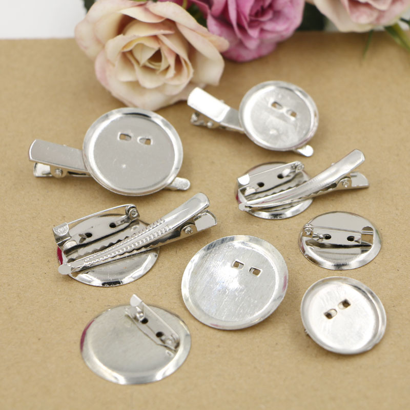 10pcs/bag 20/25/30mm Round Safety Pins Brooch Base Jewelry Findings Accessory Making DIY Brooch Hair Clip Clothing Supplies