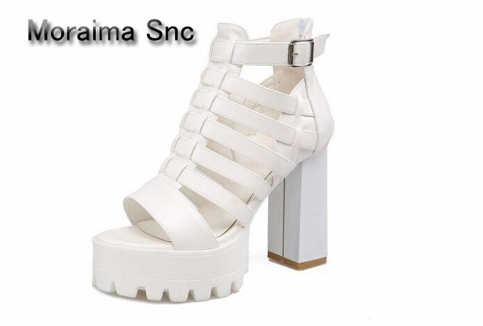 Moraima Snc gladiator sandals white platform high heels sandals boots cut-outs sexy summer ankle boots for girls peep toe shoes blue jeans bota feminina 2017 summer shoes ankle boots for women cowboy denim high heels sexy peep toe tear hollow out sandals