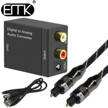 Digital to Analog Audio Converter Adapter Optical Fiber Coaxial RCA Toslink Signal for DVD