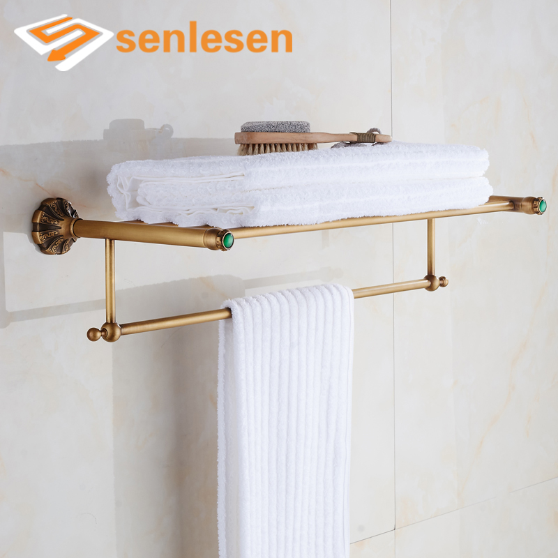 Wholesale And Retail Towel Rack Holder Clothes Shelf Bathroom Towel Bar Holder Antique Brass nail free foldable antique brass bath towel rack active bathroom towel holder double towel shelf with hooks bathroom accessories