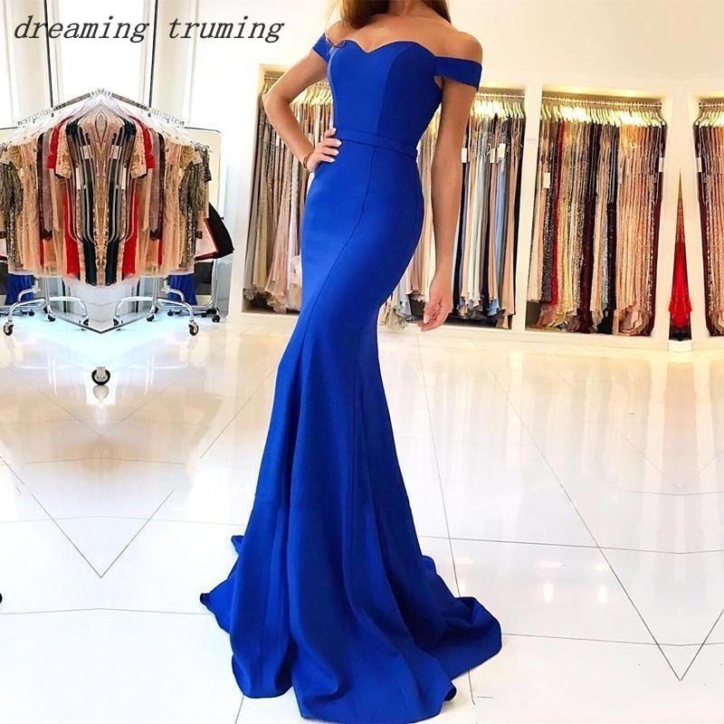 Cheap Mermaid Royal Blue Bridesmaid Dresses Long Backless Stain Pleated 20919 Custom Elegant Dress Women For Wedding Party