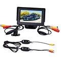 AUTO 4.3 Polegada TFT LCD Monitor + Carro câmera Reversa Retrovisor de Volta Câmera de Estacionamento Sem Fio Kits câmera do carro invertendo backup OC 11