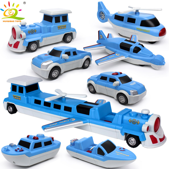 HUIQIBAO TOYS 7pcs DIY City Police Helicopter Magnetic Building Blocks Kits For Children Assembly Train Vehicle Educational Toys