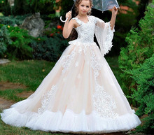 New Beige Tulle White Lace Flower Girl Dresses for Wedding Kids Clothes Pageant Dresses Communion Gown Size 2-16Y недорого
