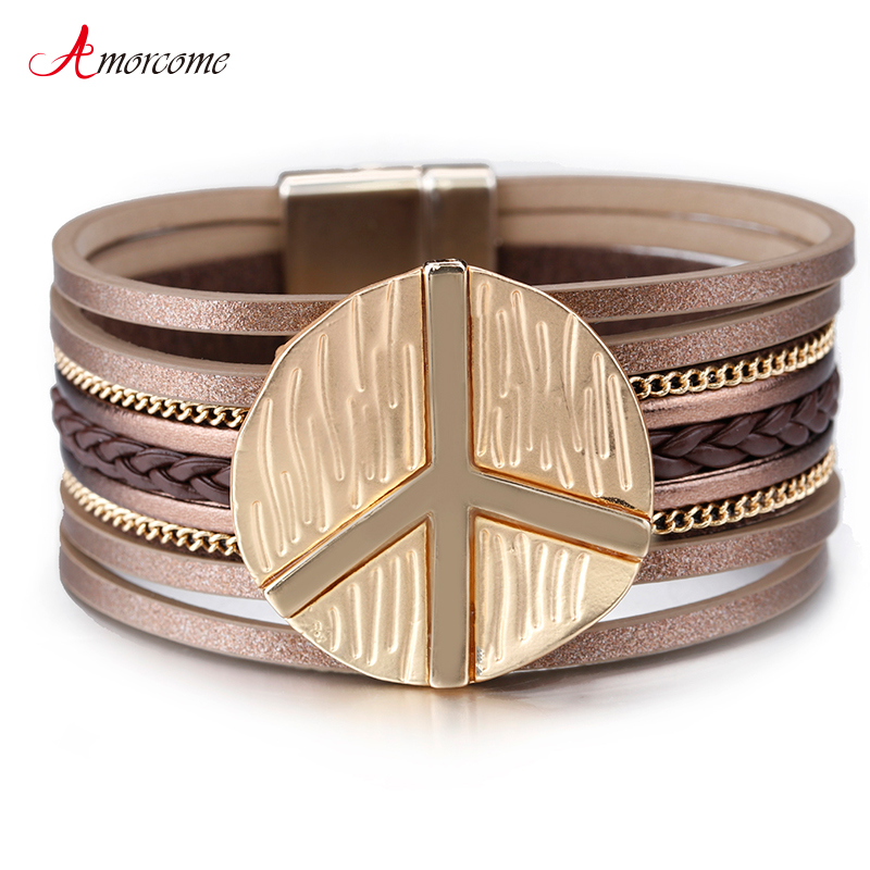 Us 3 49 30 Off Amorcome Peace Symbol Charm Leather Bracelets For Women 2019 Fashion Magnetic Clasp Multilayer Wide Bracelet Female Jewelry Gift In