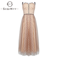 SEQINYY Sexy Dress 2019 Summer New Fashion Design High Street Black Strapless Diamonds Dot Orange Mesh Ball Gown Dress Women