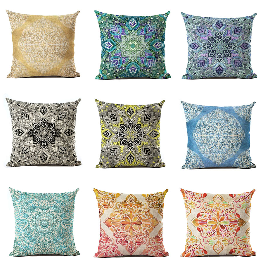 Monily 43X43cm Cotton Linen Sofa Bohemia Cushion Cover Paisley Pillow Case Pillow Cover Home Decorative Textile For Chair Seat