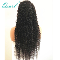 Thick Density Kinky Curly Lace Front Human Hair Wigs Natural Black 13x4 Lace Wig Brazilian Remy Hair Free Part Qearl Hair