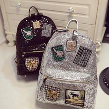 2016 Spring And Summer Women Sequins Backpacks Student Cute Schoolbag Bags Fashion Travel PU Leather Backpacks Bags