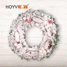 HOYVJOY Pile Coating White Wreaths Pine Cone Decorations 30cm 40cm DIY Decor for Home Christmas Halloween Holiday Supplies