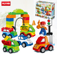 Original 52pcs Creative Cars Blocks Set Self Locking Bricks Educational DIY Toys for Children Compatible with Duplo