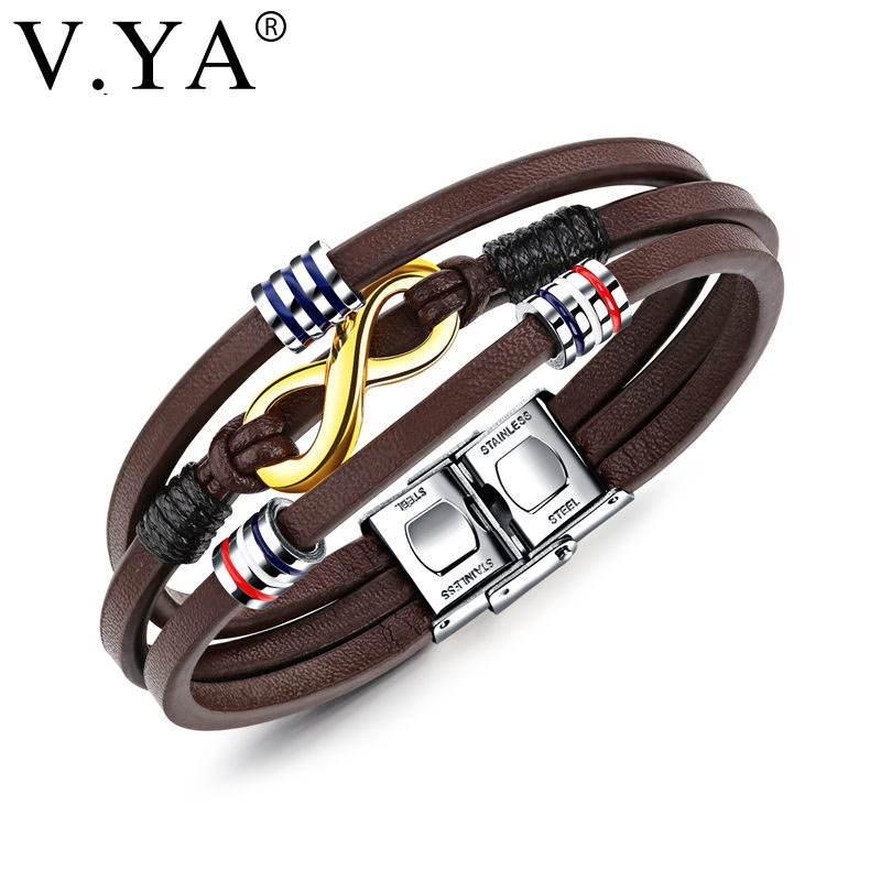 V.YA Multilayer Infinity Leather Bracelets For Men 21cm Stainless Steel Brown Colors Cool Male Two Tone Wrap Bracelet Drop Ship