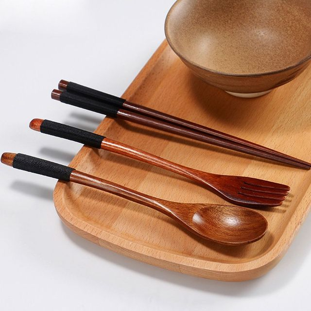 3 pcs/set High quality Natural Wooden Tableware Japanese Style Dinnerware Accessories Hot Selling Kitchen & 3 pcs/set High quality Natural Wooden Tableware Japanese Style ...