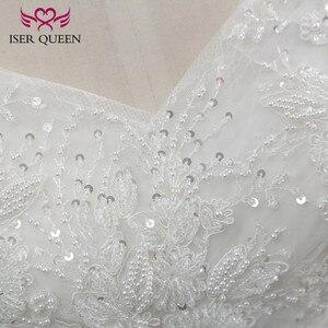 Image 5 - כובע שרוול רקמת מקסים ואגלי v צוואר לבן חתונה שמלת 2020 תפור לפי מידה גודל כדור שמלת חתונת שמלות WX0107
