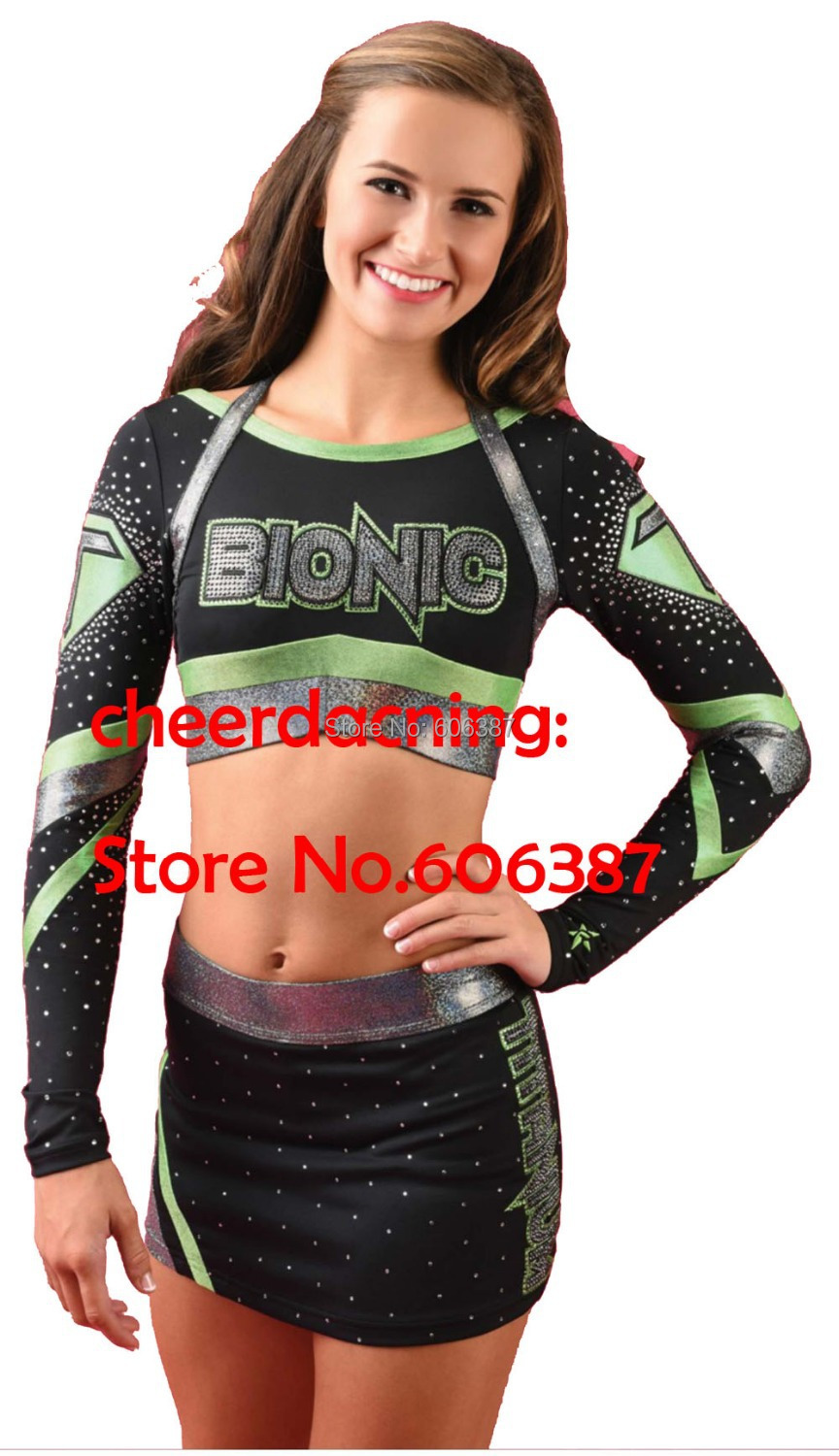 2015 Style  Lycra Fabric Girls Cheerleader Uniform 1 Set Cheerleader Costume Pick Size Outfit Top +shorts With Rhistone
