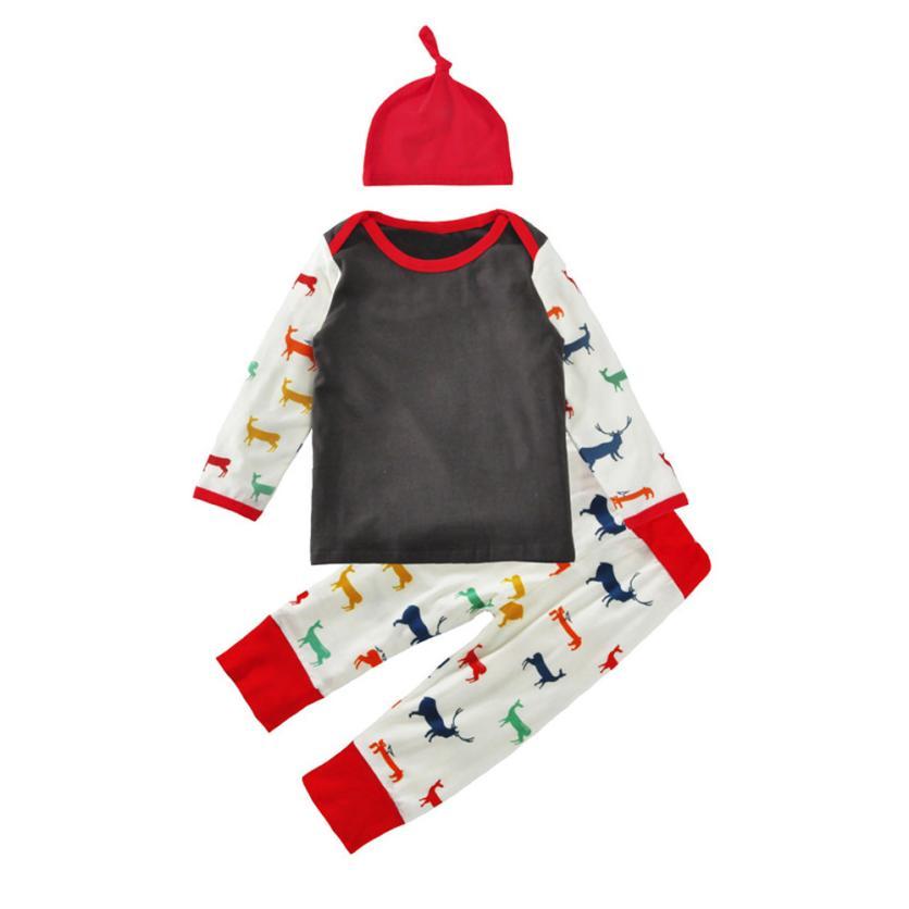 ARLONEET 2017 детская одежда для девочек для мальчиков симпатичная одежда футболка брюки мультфильм шляпа одежда, 3 предмета в комплекте Комплект...