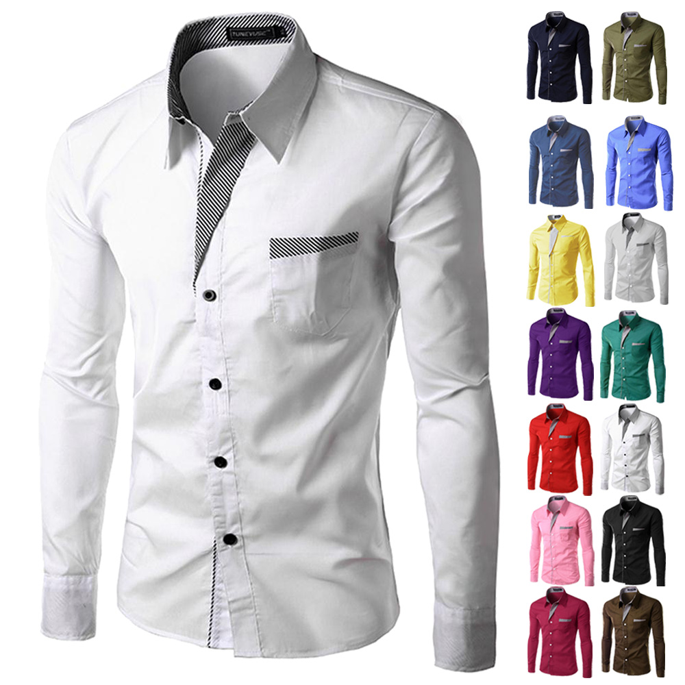 Brand 2017 dress shirts mens mens striped shirt slim for Men slim fit shirts