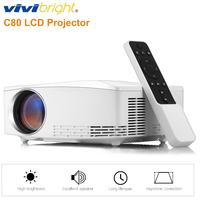 New VIVIBRIGHT C80 Portable LCD Projector 1080P Home Theater 1500 Lumens 1280*720P 16:9 Display Projector Built In Speaker