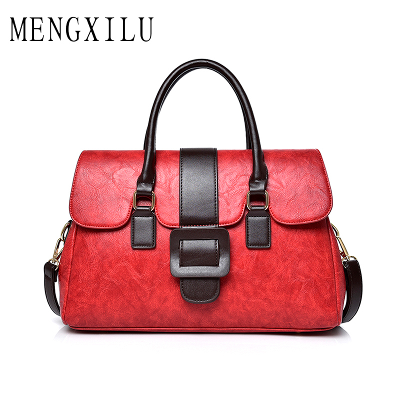 MENGXILU Vintage Women Bag Famous Brand Designer Women Leather Handbags Ladies Shoulder Bags Female Tote Bolsos Mujer Sac A Main vintage famous brand cross body envelope clutch shoulder crossbody women messenger bags handbags bolsos bolsas sac a main femme