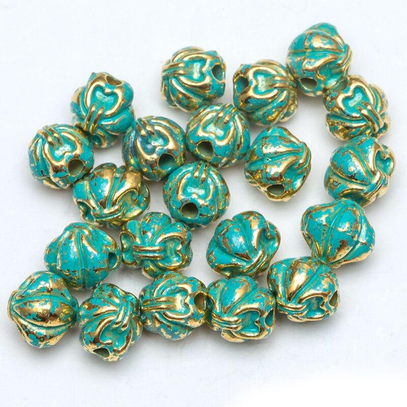 Groothandel 50 / 100pcs / lot 8.5mm-12mmmetal vintage groene en - Mode-sieraden - Foto 6