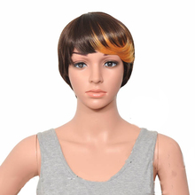 цена на HAIRJOY Blonde Brown Mix Black  Short Straight  Cosplay Party  Wig Woman Synthetic Hair Free Shipping