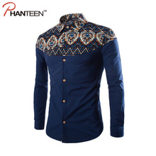 Phanteen Bohemia Style Flower Printed Man Shirts Long Sleeve Patchwork Slim Fit Casual Shirts Business Fashion Men Clothing