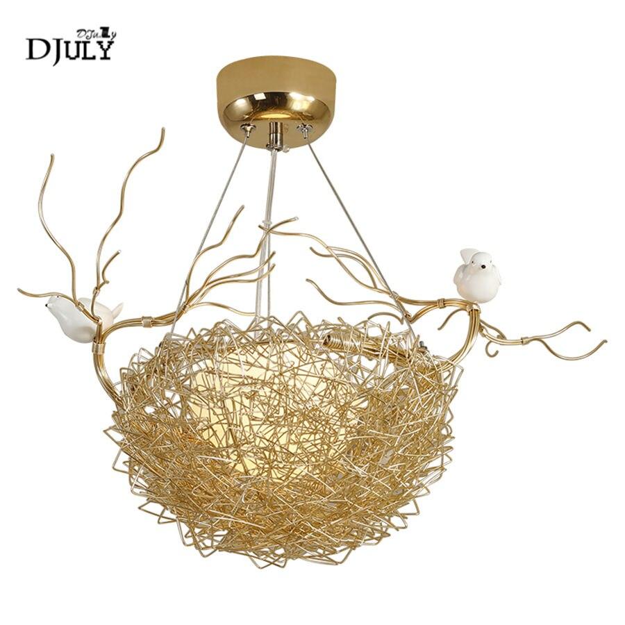 Nordique or nid d'oiseau pendentif lumières pour enfants chambre salle à manger accrocher lampe maison déco cuisine luminaires suspension luminaire