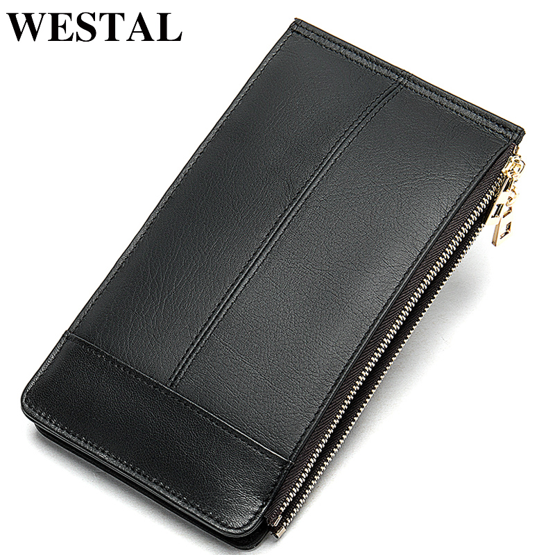 WESTAL Slim Wallet Men Genuine Leather Multifunction Card Holder Male Wallet Purse Short Thin Wallets Coin Money Bags 8707