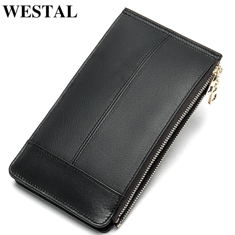 WESTAL Slim Wallet Men Genuine Leather Multifunction Card Holder Male Wallet Purse Short Thin Wallets Coin Money Bags 8707