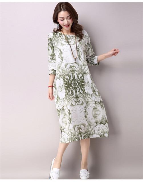 Summer Maxi Dress Women Cotton Long Sleeve Streetwear Retro Flora Print  Loose Casual Dresses Plus Size Long Maxi Dress Robe dfdd891746b1