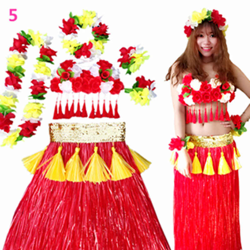 19b89fa881fca ... 6PCS/set Plastic Fibers Hawaiian Women Grass Skirt Garland Hula Skirt  Costume Show Ladies Dress