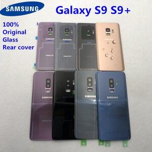 Image 1 - غطاء البطارية الخلفي الأصلي لسامسونج غالاكسي S9 Plus S9 + G960 G965 100% غطاء الباب الزجاجي الكاميرا الخلفية زجاج S9 الغطاء الخلفي