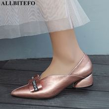 ALLBITEFO high quality full genuine leather pointed toe thick heel wom