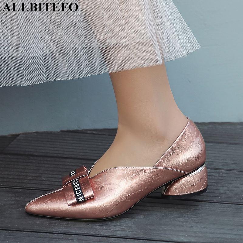 ALLBITEFO جودة عالية كامل جلد طبيعي وأشار اصبع القدم سميكة كعب أحذية للنساء بووتي حذاء نسائي ذو كعب عالٍ مكتب السيدات أحذية-في أحذية نسائية من أحذية على  مجموعة 1
