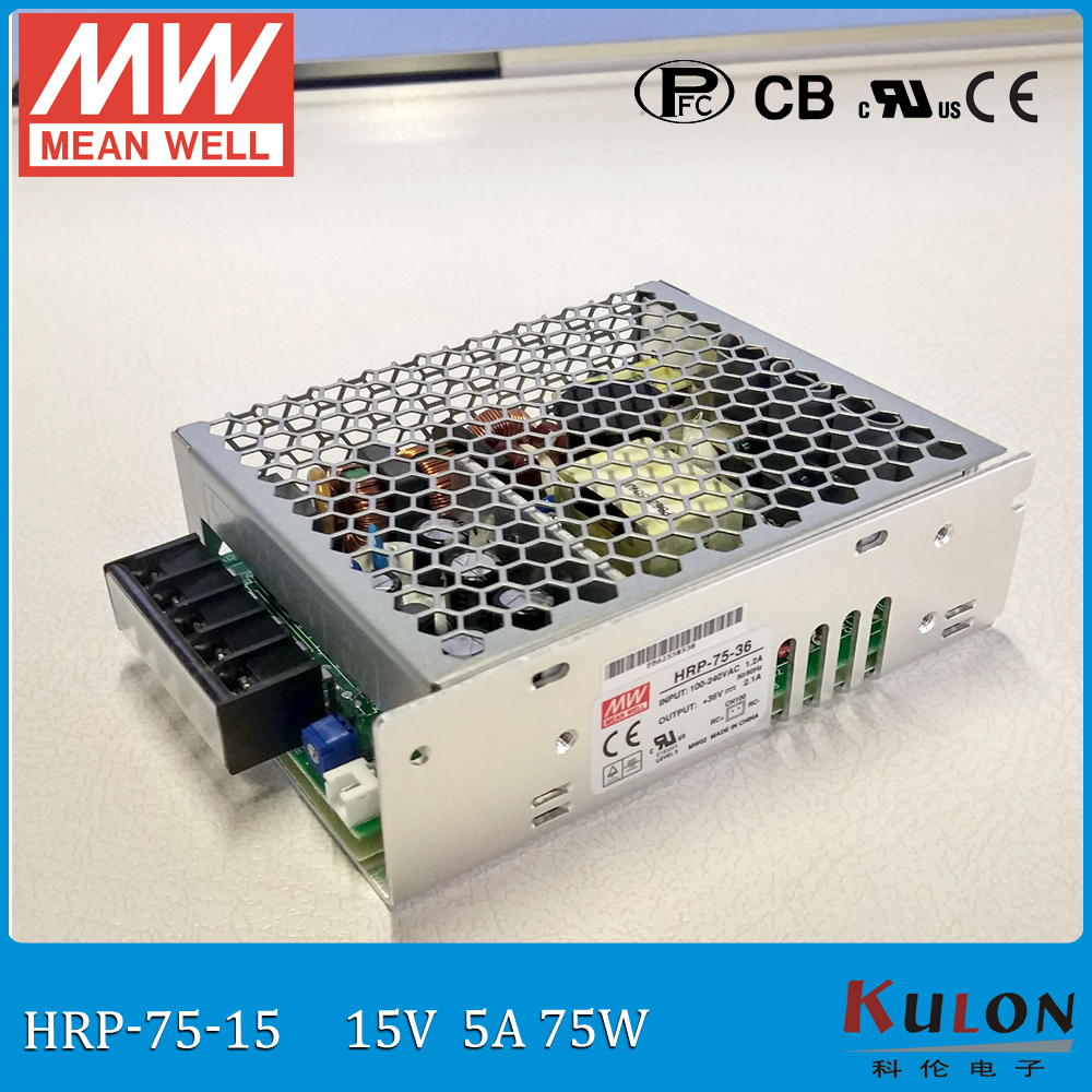 Original MEAN WELL HRP-75-15 single output 15V 75W 5A G5 series meanwell Power Supply HRP-75 with PFC function mean well original hrp 75 36 36v 2 1a meanwell hrp 75 36v 75 6w single output with pfc function power supply