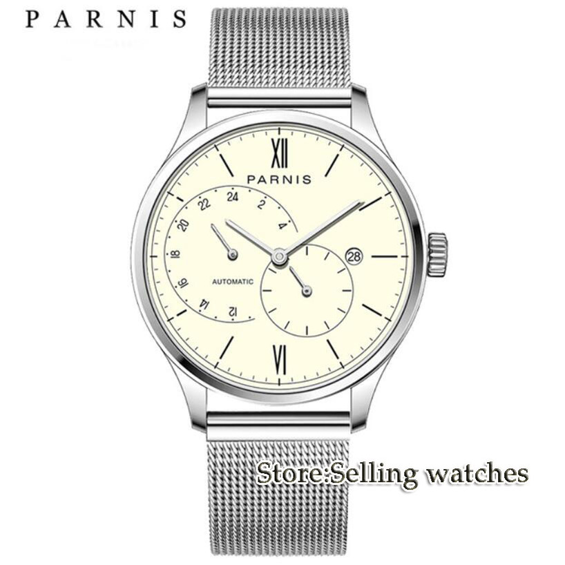 купить 42mm Parnis Beige dial Roman Numerals Stainless Steel Case Complete Calendar MIYOTA Automatic movement Men's Watch по цене 8486.09 рублей