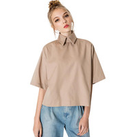 Retro Style Shirt Fashion Turn Down Collar Blouse Slim Women Shirt