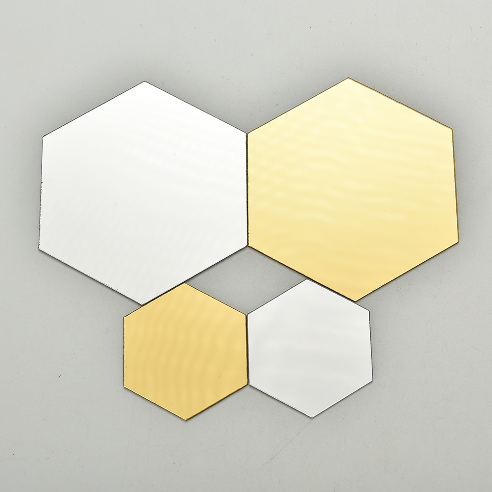 12Pcs/set Hot Gold Silver 3D Mirror Geometric Hexagon ...