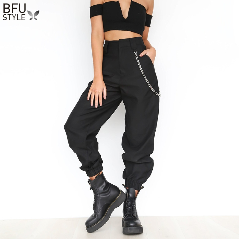 Elegant Thin Chain Pants High Waist Harem Pants Women Hip Hop Streetwear Baggy Party Trousers Pockets Work Solid Loose Pantalon