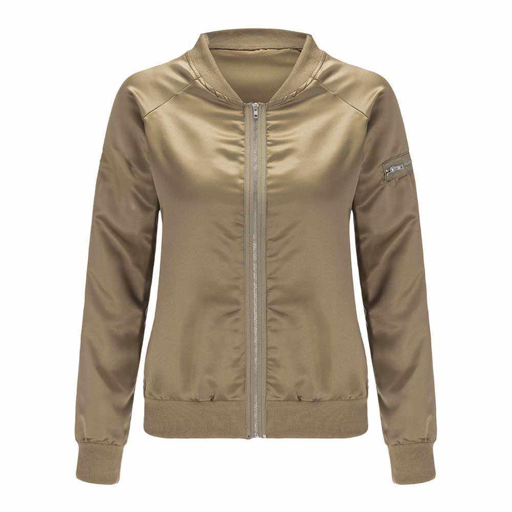 Женская Блестящая Базовая куртка цвета шампанского, золотой, черный цвет, круглый воротник, длинный рукав, тонкая куртка-бомбер, бейсбольная верхняя одежда, топы WDC1726
