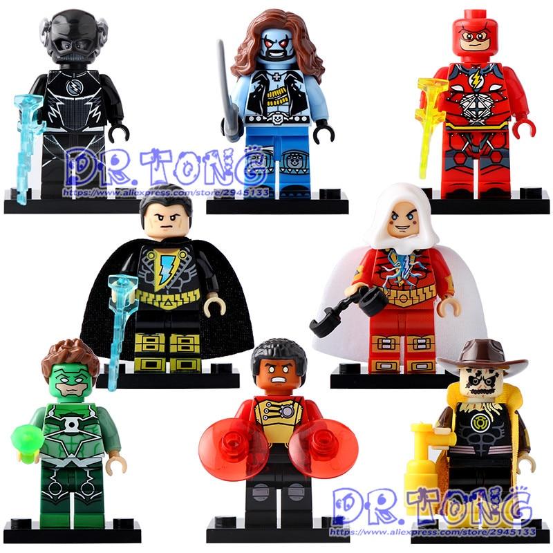 DR.TONG 80pcs/lot X0153 Super Heroes Yellow Light the Scarecrow Black Adam Green Lanten Firestorm Flash Building Blocks DIY Toys jsa black adam and isis