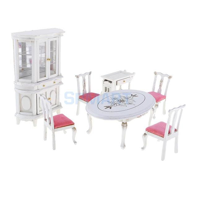 European Style 1 12 Dollhouse Miniature Wooden Dining Table Chair