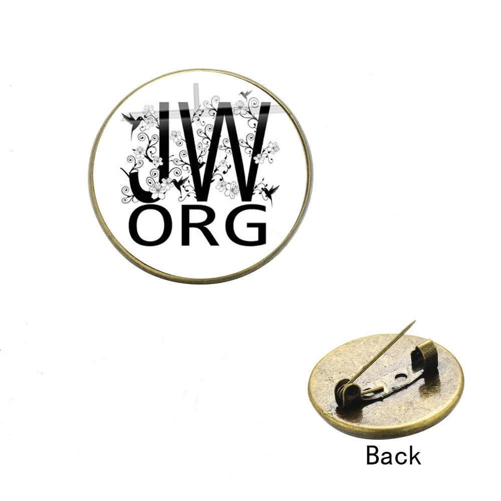 SONGDA קלאסי JW. ORG סיכת יהוה של עדי צווארון סיכות בעבודת יד אמנות תמונה עגול זכוכית קרושון פין תג תכשיטים סיטונאי