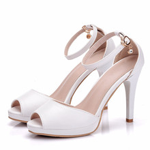 Sandals Women Classics High Heels Peep Toe Daily Shoes Plus Size White Summer Women Shoes Pumps Dress Wedding Shoes XY-A0128 cocoafoal woamn wedges sandals plus size 32 45 pink high heels white wedding shoes black blue sexy peep toe summer pumps 2018