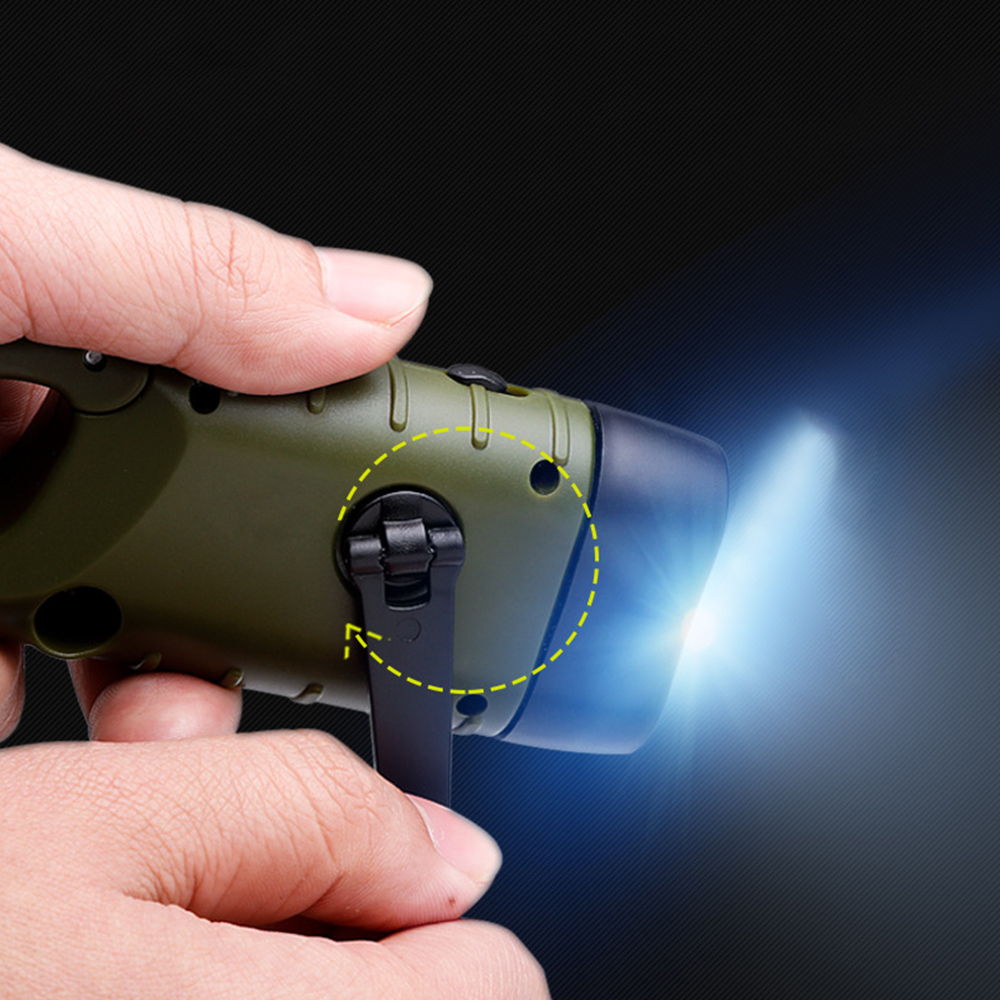 Rechargeable Mini Emergency Hand Crank Dynamo Solar Flashlight Led Light Lamp Charging Powerful Torch For Outdoor Camping