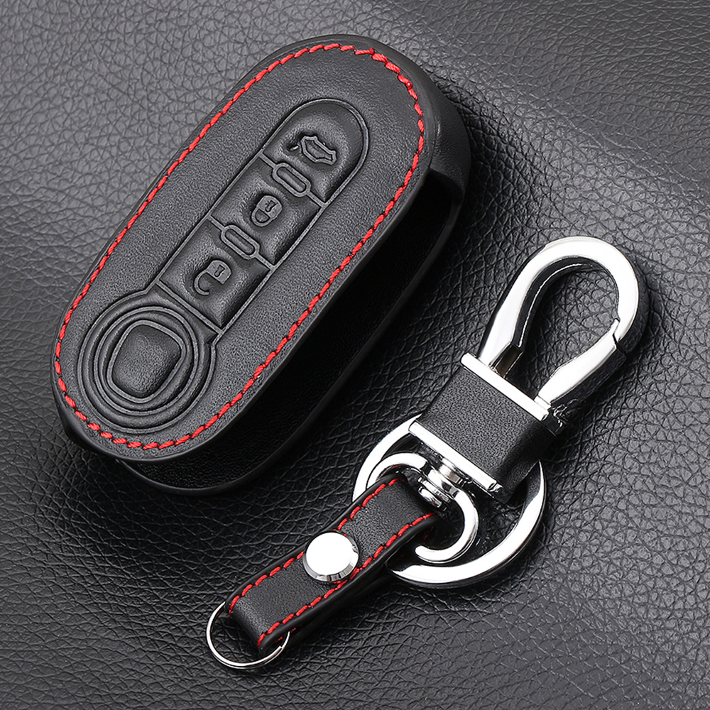 Genuine Leather Car Key Cover CASE Fit For FIAT 500 Panda