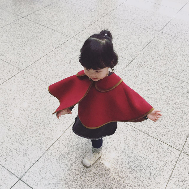 Chidren Girl Clothings 2016 Autumn Ins Girl Capes Wine Red Toddler Baby Cloak Vintage Fashion Clothes