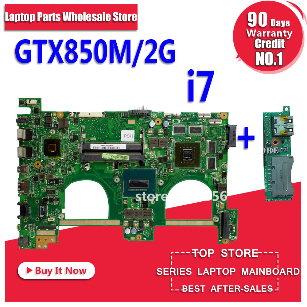 Send board+GTX850M 2GB N550JK Motherboard For ASUS Q550JV G550J G550JK N550JV N550JV N550J laptop Motherboard Mainboard HM86