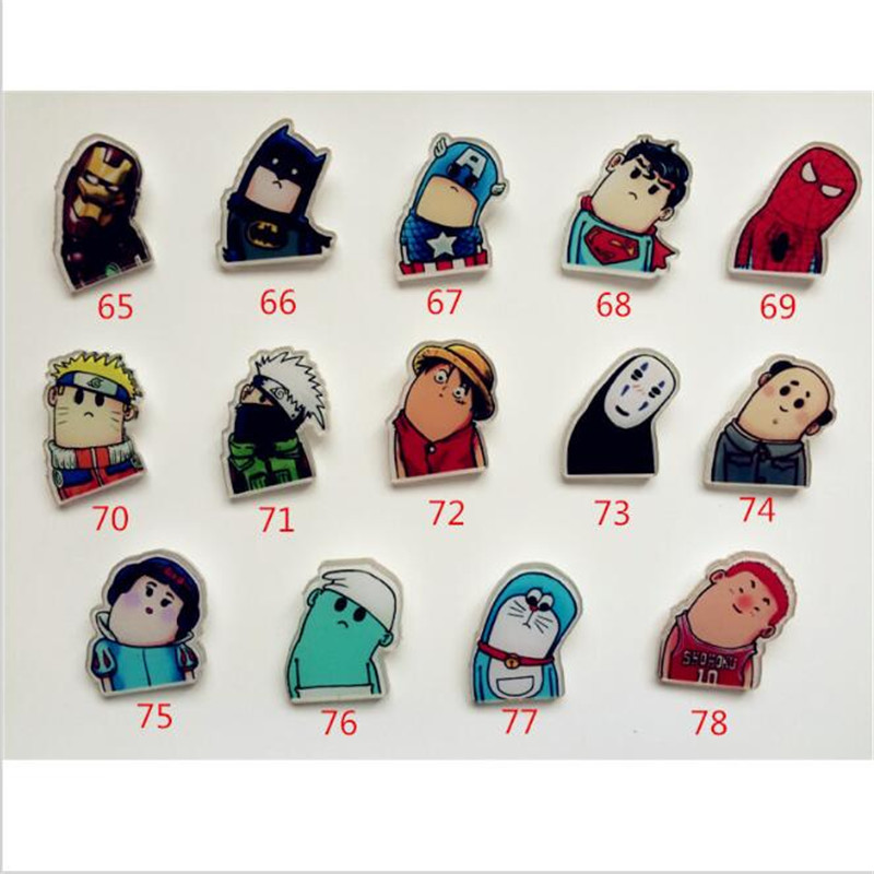 Free shipping acrylic brooch 2017 New Harajuku Iron Man cute badge brooch Diy phone shell accessory Superman or Batman badgeXZ73
